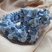Vintage Wire Wrap Blue Molded Glass Floral Bracelet