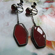 Vintage Deco 20s Sterling Carnelian Screw Back Earrings