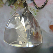Vintage Reverse Carved Crystal Butterfly Necklace Sterling Chain