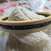 Vintage Deco Celluloid Rhinestone Paste Bangle Bracelet