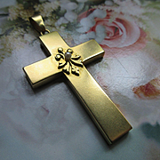 Antique 10K Cross Pendant