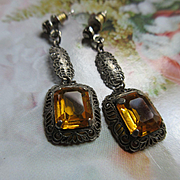 Vintage Deco Filigree Crystal Pierced Earrings