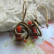 Antique Coral Branch Pierced Earrings in Gold Fill  Good Luck Talisman