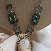 Vintage Deco Spun Wire Work Jeweled Cameo Necklace