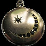 Antique Victorian Paste Locket Crescent Moon and Star Locket