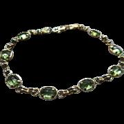 Vintage 10K Peridot Bracelet August Birthstone