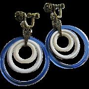 Vintage Deco Glass Blue and White Hoop Screw Back Earrings