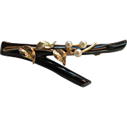 Vintage Natural Black Coral Branch Brooch with 10K Gold and Cultured Pearl Accents