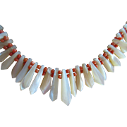 Vintage Natural Coral and Mother Of Pearl Necklace