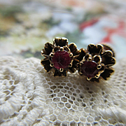 Older Vintage Ruby 14K Pierced Earrings Buttercup Settings