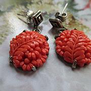 Vintage Sterling Molded Glass Pierced Earrings