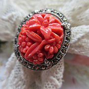 Vintage Sterling Molded Glass Marcasite Ring Size 3.25