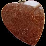 Antique Gold Stone Heart Pendant