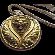 Antique Art Nouveau 10K Lion Locket Necklace
