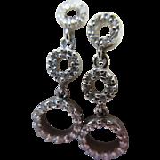 Estate 14K White Gold Diamond Hoop Drop Pierced Earrings