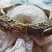 Vintage Deco Asian Import Silver Bracelet Tiger Eye Silver Gilt