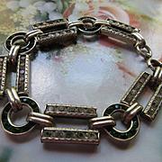 Vintage Deco 20s 30s Sterling Paste Bracelet Leach Miller Hallmark