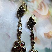 Antique Bohemian Garnet Pierced Drop Earrings with 10K Gold Ear Wires