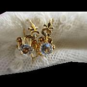 Victorian 14K Paste Earrings Antique Pierced Earrings