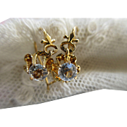 Victorian 14K Paste Earrings Antique Pierced Earrings