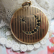 Antique Crescent Moon and Star Locket in Gold Fill