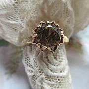 Antique 14K Natural Orange Zircon Ring