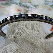 Vintage Deco 20s Sterling Channel Set Crystal Bracelet Sapphire Blue