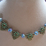 Older Vintage 30s Enameled Flowers and Hearts Necklace