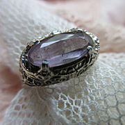 Vintage Deco Circa 1920 14K Amethyst Ring Size 6