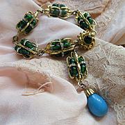 Vintage Wm. DeLillo Bracelet Vivid Colors Detailed Gold Tone Metal