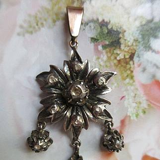 Antique Rose Cut Diamond Silver and 10K Pendant Early Victorian