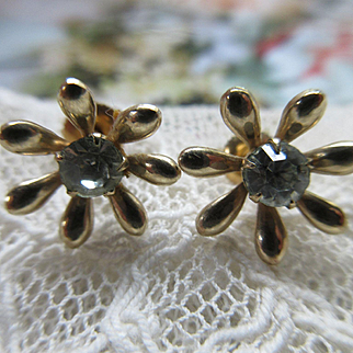 Antique Edwardian 10K Paste Pierced Earrings