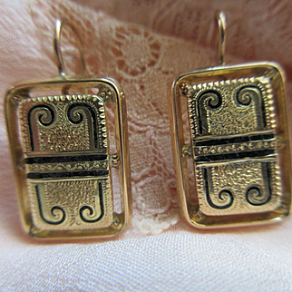 Antique 10K Pierced Earrings Black Enameling