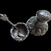 Antique Victorian Open Salt and Pepper Fleur Di Lis Salt Spoon