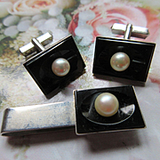 Vintage Sterling 950 Black Onyx Cultured Pearl Cuff Link and Tie Bar Set
