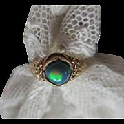 Antique 10K Black Opal Ring Floral Repousse Shank