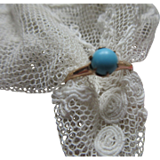 Antique Persian Turquoise Solitaire Ring in Gold Fill