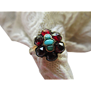 Antique Victorian 10K Rose Cut Garnet and Turquoise Ring