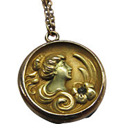 Antique Art Nouveau Long Locket Necklace in Gold Fill
