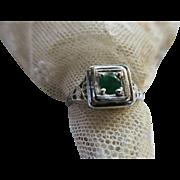 Deco 20s 30s Emerald 14K White Gold Filigree Ring