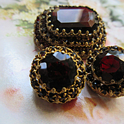Vintage Czech 1930s Tiered Brooch and Clip On Earrings Garnet Red Crystals