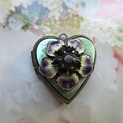 Vintage Circa 1940 Enameled Jeweled Floral locket