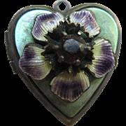 Vintage Circa 1940 Enameled Jeweled Floral locket