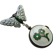 Vintage Circa 1930 Sterling Enameled Butterfly Watch Pin and Enameled Watch TLC