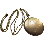 Antique Monogrammed A Locket Necklace in Gold Fill