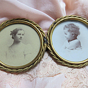Early 1900s Double Picture Frame Beautiful Old Photos