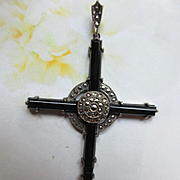 Vintage Sterling Black Onyx Marcasite Cross Pendant