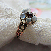 Victorian 10K Moonstone and Garnet Ring