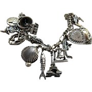 Vintage Sterling Charm Bracelet 17 Silver Charms Hearts Eiffel Tower