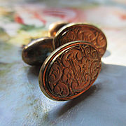 Older Vintage 1900s Repousse Floral Cufflinks in Gold Fill